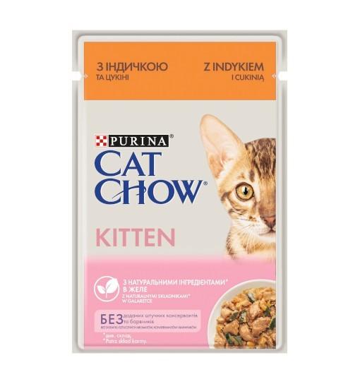 Saszetka Cat Chow Kitten z indykiem i cukinią w galaretce 85g