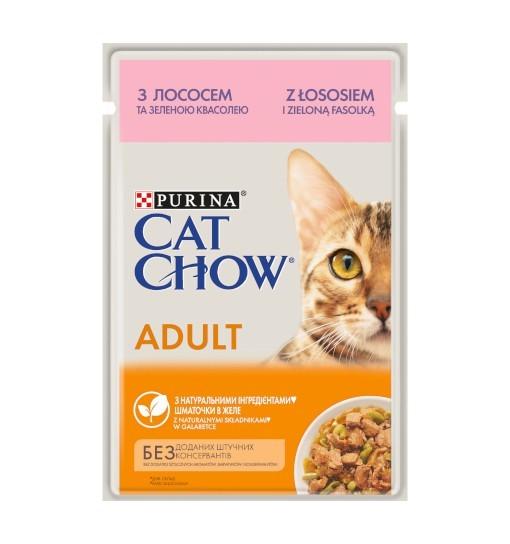 Saszetka Cat Chow łosoś i zielona fasolka w galarecie 85g
