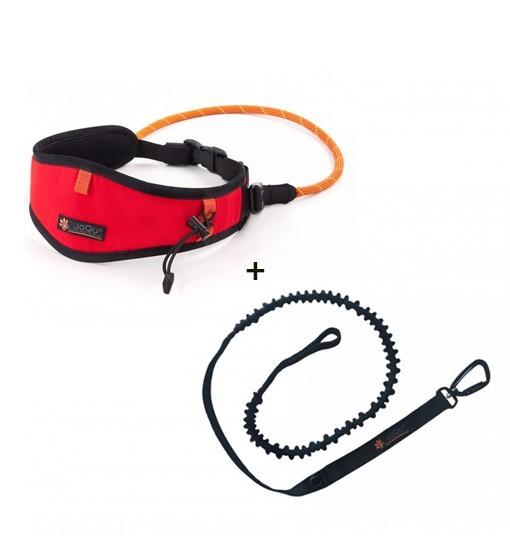 JoQu Light Canicross Belt Red + Rope Shock - pas do biegania z psem