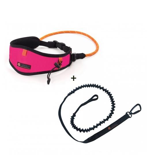 JoQu Light Canicross Belt Pink + Rope Shock - pas do biegania z psem
