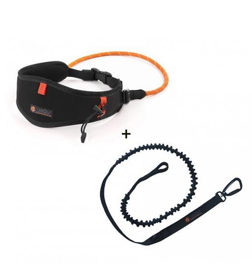 JoQu Light Canicross Belt Black + Rope Shock - pas do biegania z psem