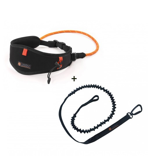 JoQu Light Canicross Belt Black + Rope Shock - pas do biegania z psem