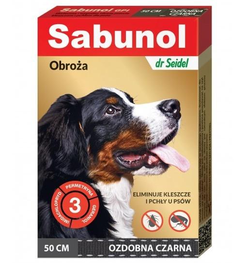 SABUNOL GPI - obroża ozdobna czarna przeciw kleszczom i pchłom dla psa 50 cm