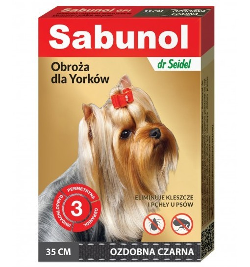 SABUNOL GPI - obroża ozdobna czarna przeciw kleszczom i pchłom dla Yorków 35 cm