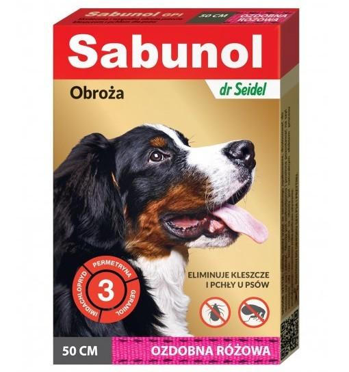 SABUNOL GPI - obroża ozdobna różowa przeciw kleszczom i pchłom dla psa 50 cm