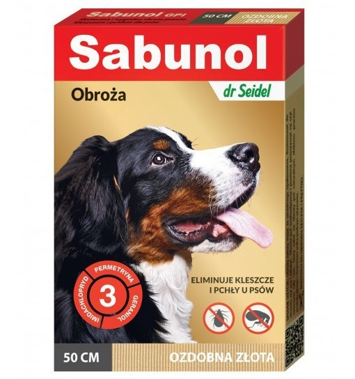 SABUNOL GPI - obroża ozdobna złota przeciw pchłom i kleszczom dla psa 50 cm