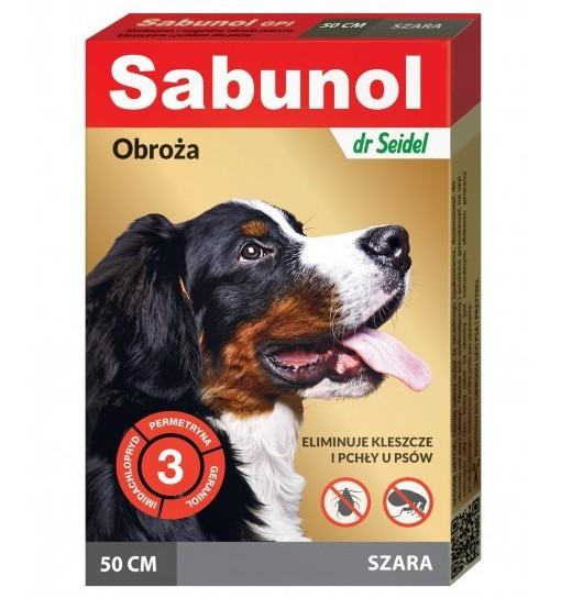 SABUNOL GPI - obroża szara przeciw pchłom i kleszczom dla psa 50 cm