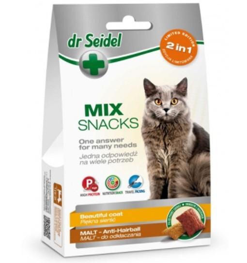 Smakołyki Dr Seidla MIX 2w1 dla kotów na piękną sierść & malt 60g