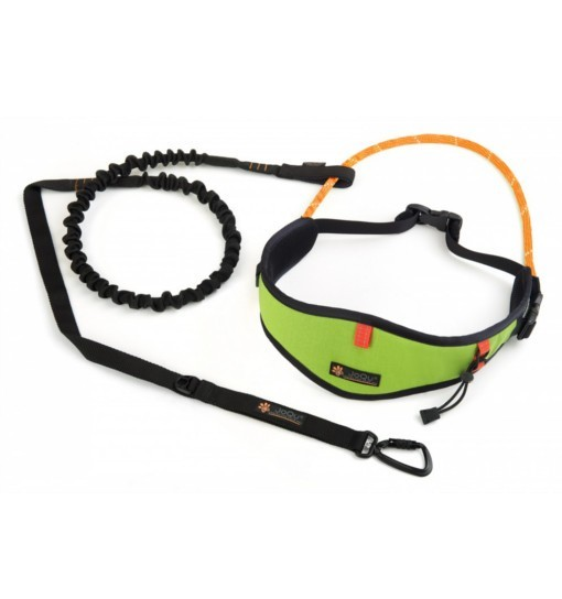 JoQu Light Canicross Belt Green + Rope Shock - pas do biegania z psem
