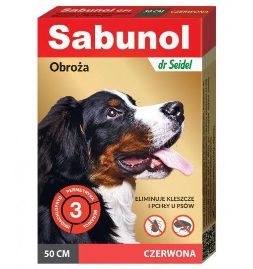 SABUNOL GPI - obroża czerwona przeciw pchłom i kleszczom dla psa