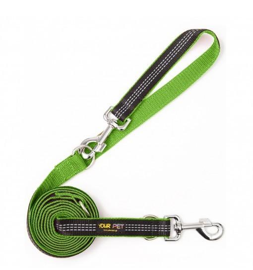 Long Reflex Leash – smycz przepinana z taśmą odblaskową (zielono-czarna)