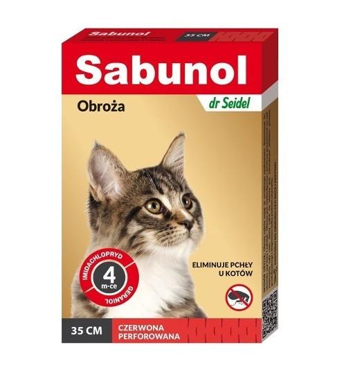 SABUNOL - obroża czerwona przeciw pchłom i kleszczom dla kota 35 cm