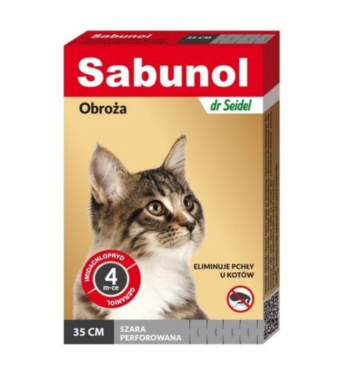 SABUNOL - obroża szara przeciw pchłom i kleszczom dla kota 35 cm