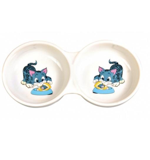 """Trixie Miska ceramiczna podwójna """"z kotkiem"""" - 2x150ml"""