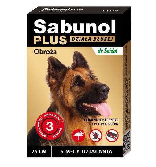 SABUNOL PLUS - obroża przeciw pchłom i kleszczom o przedłużonym działaniu dla psa 75 cm
