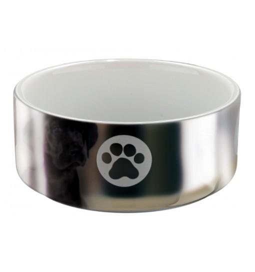 Miska ceramiczna z motywem łapki - srebrno-biała