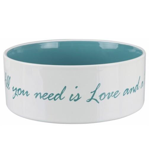Trixie Miska ceramiczna Pet's Home - kremowa/jasnoniebieska
