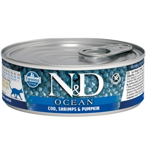 N&D OCEAN CODEFISH, SHRIMP & PUMPKIN Adult Cat - puszka 80g