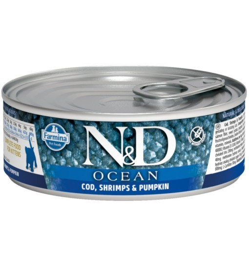 N&D OCEAN CODEFISH, SHRIMP & PUMPKIN Kitten - puszka 80g