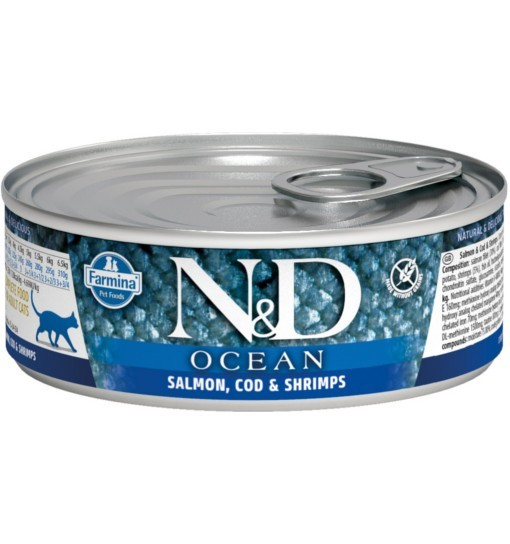 N&D OCEAN SALMON, CODEFISH & SHRIMP Adult Cat - puszka 80g