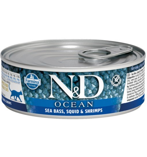 N&D OCEAN SEA BASS, SQUID & SHRIMP Adult Cat - puszka 80g