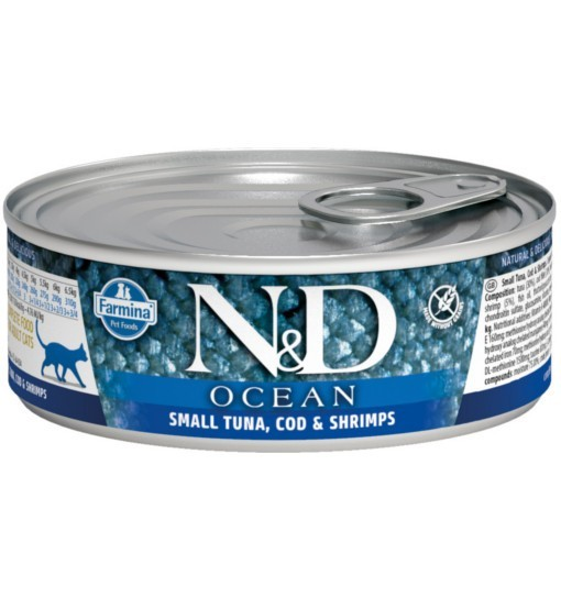 N&D OCEAN SMALL TUNA, CODEFISH & SHRIMP Adult Cat - puszka 80g