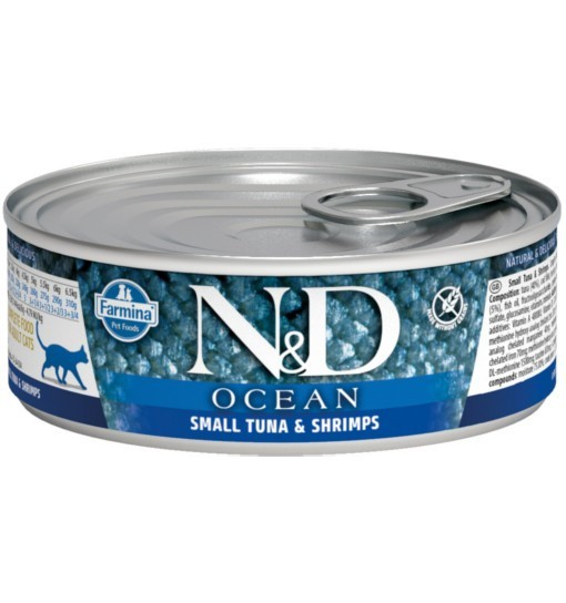 N&D OCEAN SMALL TUNA & SHRIMP Adult Cat - puszka 80g