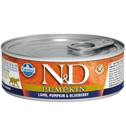 N&D PUMPKIN LAMB & BLUEBERRY Adult Cat - puszka 80g