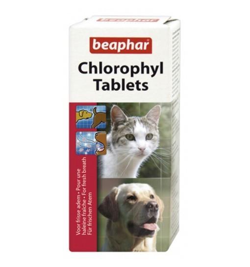 Beaphar Chlorophyl Tablets 30 szt. - odświeżają oddech, likwidują niepożądane zapachy zwierząt