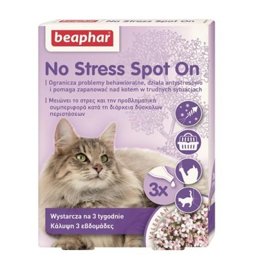 Beaphar No Stress Spot On Cat 3x04,ml - preparat wyciszający dla kotów w kroplach