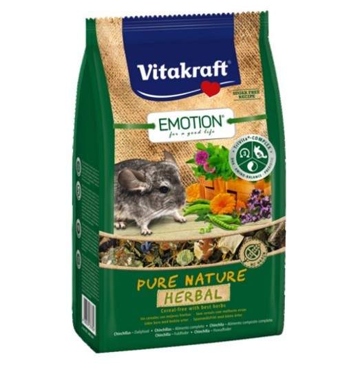 Vitakraft Emotion Pure Nature Herbal 600g - pokarm dla szynszyli