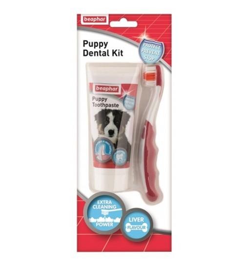 Beaphar Puppy Dental Kit - pasta do zębów 50g + szczoteczka dla szczeniąt