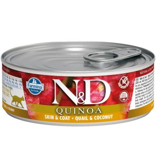N&D QUINOA SKIN & COAT QUAIL Adult Cat - puszka 80g