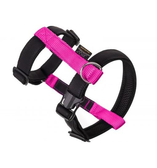 JoQu Guard - szelki z taśmą odblaskową - czarno-różowe