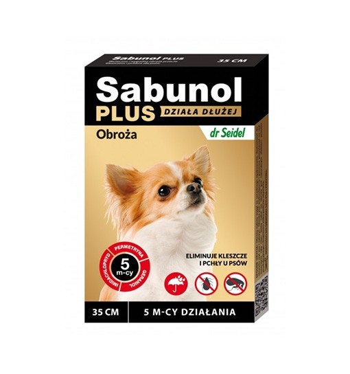 SABUNOL PLUS - obroża przeciw pchłom i kleszczom o przedłużonym działaniu dla psa 35 cm