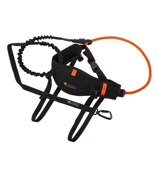 JoQu Zestaw Light Canicross Belt PLUS Black - pas do biegania odciążający odcinek lędźwiowy + Rope PLUS