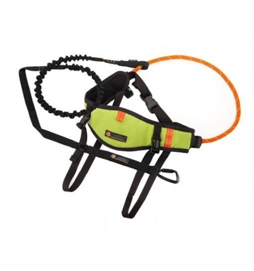 JoQu Zestaw Light Canicross Belt PLUS Green - pas do biegania odciążający odcinek lędźwiowy + Rope PLUS
