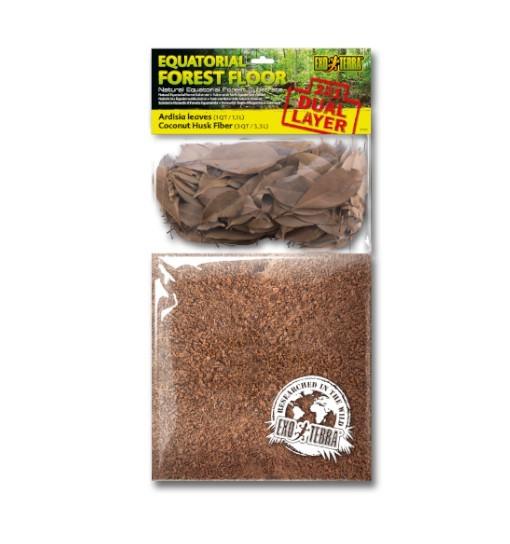 Exo-Terra Dwuwarstwowe podłoże EQUATORIAL FOREST FLOOR - 6,6L włókno kokosowe + 2,2L liście ardizji (PT3142)