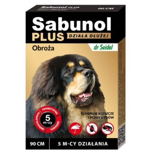 SABUNOL PLUS - obroża przeciw pchłom i kleszczom o przedłużonym działaniu dla psa 90 cm