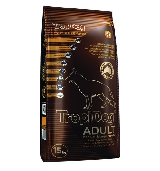 Tropidog Super Premium Adult Medium & Large Breeds With Lamb & Rice - Duża Rasa, Jagnięcina i Ryż, 15kg