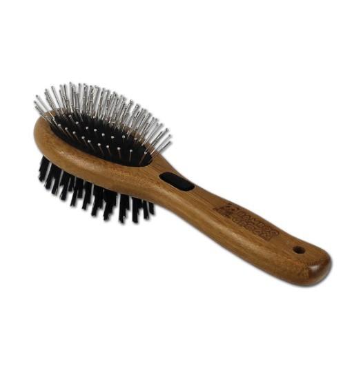 Bamboo Groom Dwustronna szczotka z włosiem i igłami ze stali nierdzewnej