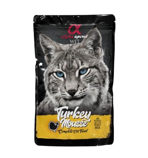 Saszetka Alpha Spirit Mus z Indyka 85g /dla kotów
