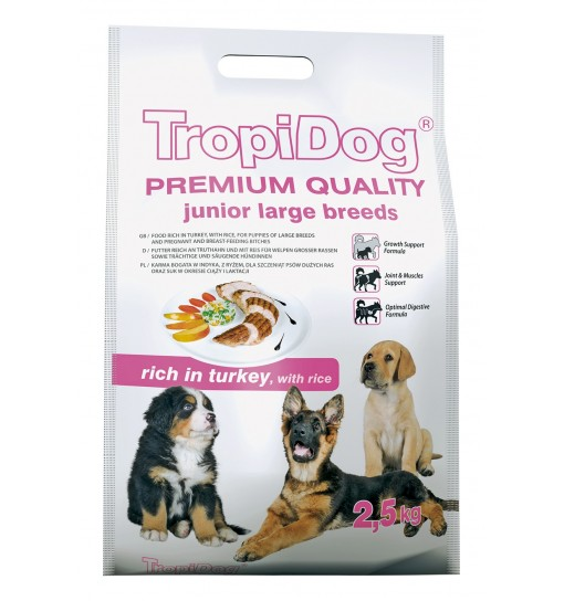 Tropidog Premium Junior Large Breeds With Tukrey & Rice - Duża Rasa, Indyk i Ryż