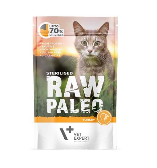 Vet Expert RAW PALEO karma mokra dla kotów sterylizowanych - indyk 100g
