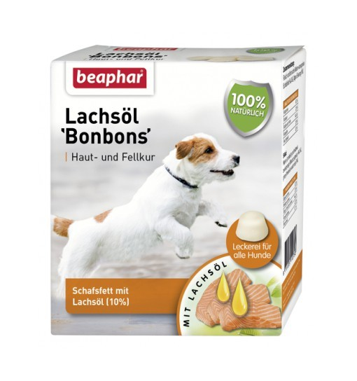 Beaphar LACHSÖL BONBONS - praliny dla psa z łososiem 245g