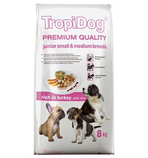 Tropidog Premium Junior Small & Medium Breeds With Turkey & Rice - Mała Rasa, Indyk i Ryż