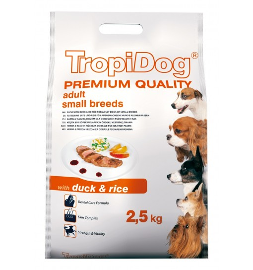 Tropidog Premium Adult Small Breeds With Duck & Rice - Mała Rasa, Kaczka i Ryż