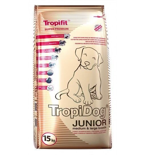 Tropidog Super Premium Junior Medium & Large Breeds With Turkey, Salmon & Eggs - Duża Rasa,Indyk, Łosoś i Jajko, 15kg