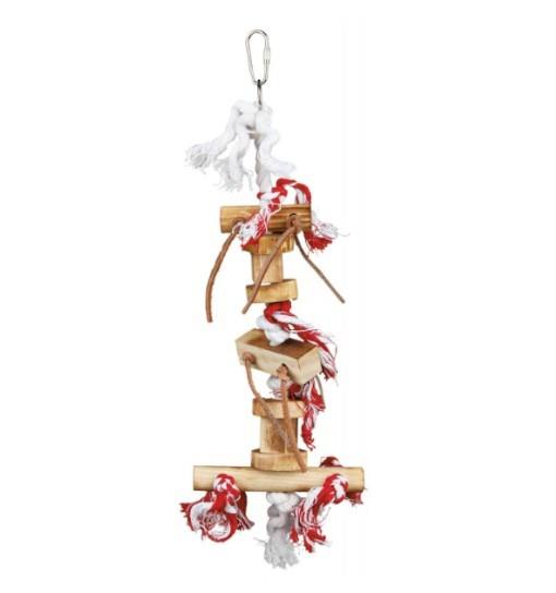 Trixie Drewniana zabawka z rzemykami 35cm