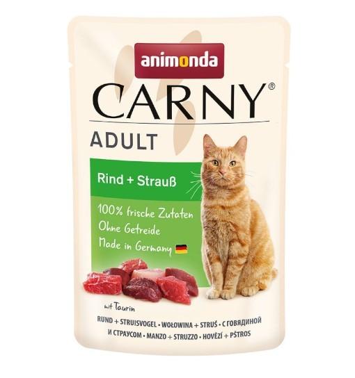 Animonda CARNY adult cat saszetka 85g - wołowina/struś